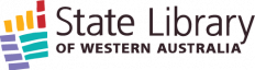 State Library of Western Australia logo with coloured striped lines (horizontal and vertical) in the shape of Western Australia