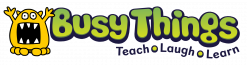 Busy Things logo in green text saying teach learn and play with a yellow monster with his hands in the air
