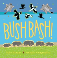 Bush Bash book cover featuring wombats, magpies, and glider possums.