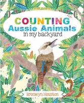 Counting Aussie Animals in My Backyard book cover featuring a kookaburra in a tree.