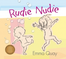 Rudie Nudie book cover featuring two small naked children with bubbles in the background.