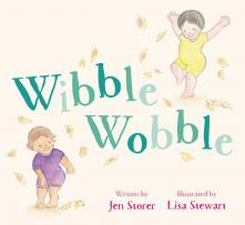 Wibble Wobble book cover featuring two young children playing in autumn leaves.