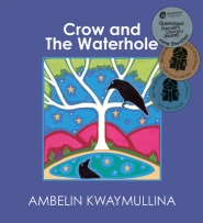 Crow and the Waterhole book cover featuring a crow in a tree looking at her reflection in water below.