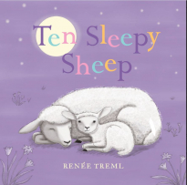 Ten Sleepy Sheep cover. A purple background with a sheep and lamb asleep.